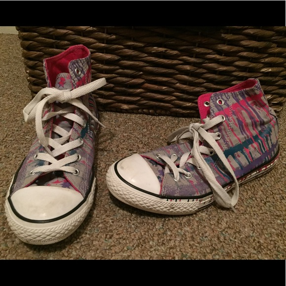 ab1a43c2cc69 Converse Other - Converse Paint Splatter Hi Top Shoes Girl 4